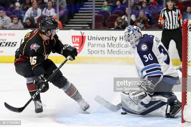 Cleveland Monsters right wing Miles Koules makes a pad save Cleveland Monsters right wing Miles Koules during the second period of the American...