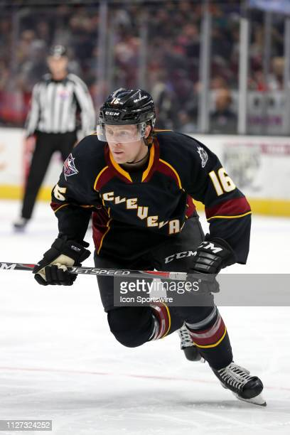 Cleveland Monsters right wing Miles Koules on the ice during the second period of the American Hockey League game between the Milwaukee Admirals and...