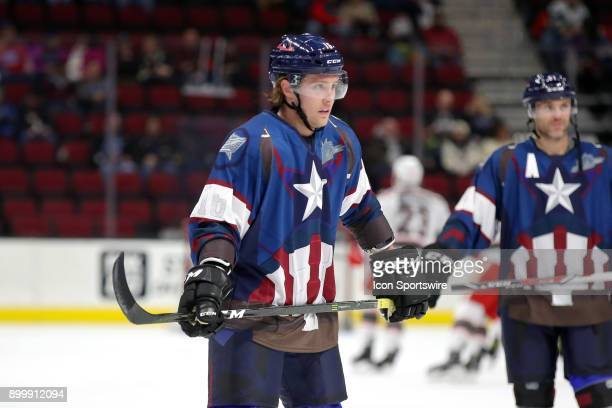 Cleveland Monsters right wing Miles Koules on the ice for warmups wearing a special Marvel Superhero Jersey prior to the American Hockey League game...