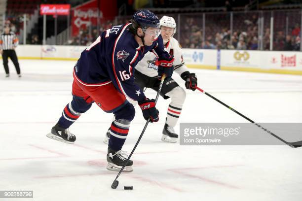 Cleveland Monsters right wing Miles Koules shoots the puck during the second period of the American Hockey League game between the Rockford IceHogs...