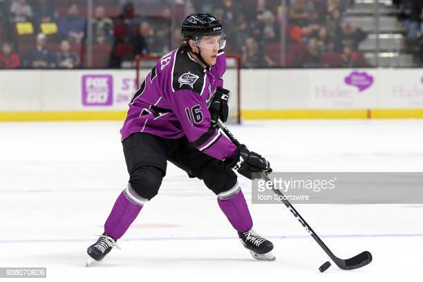 Cleveland Monsters right wing Miles Koules with the puck during the second period of the American Hockey League game between the San Diego Gulls and...
