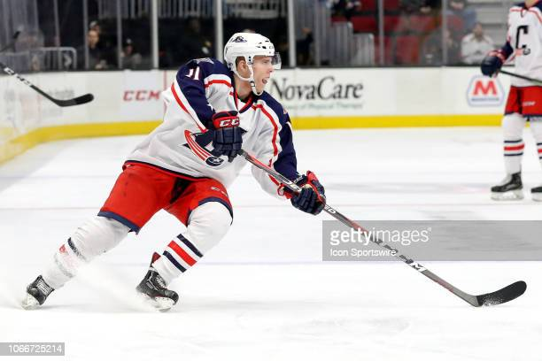Cleveland Monsters right wing Vitaly Abramov controls the puck during the second period of the American Hockey League game between the Toronto...