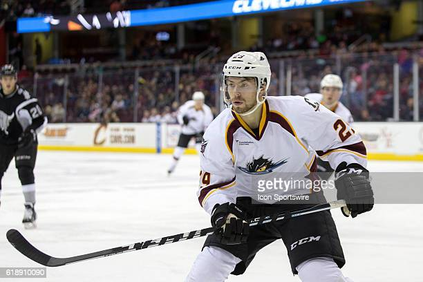 October 27: Cleveland Monsters RW Oliver Bjorkstrand with his eye on the puck during the second period of the AHL hockey game between the San Antonio...