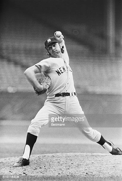 Cleveland, O.: Sparky Lyle, relief pitcher for New York, is pictured in game against Cleveland where he notched his 35th save of the season. It ties...
