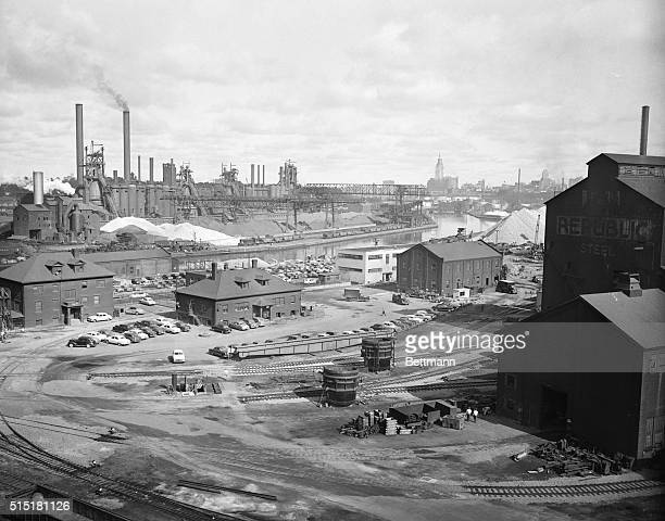 7/29/1952 Cleveland OH General view of the Republic Steel Co in Cleveland's Cuyahoga River Valley Photo was made looking north west with the terminal...