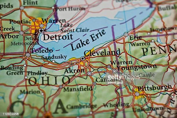mapa de la ciudad de cleveland, ohio - cleveland ohio fotografías e imágenes de stock