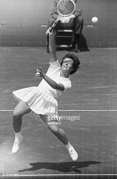 8/9/1965 Cleveland OH The United States clinched the 1965 Wightman Cup Tennis Matches when Billie Jean Moffitt of Long Beach CA downed England's Liz...