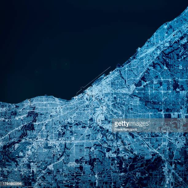 cleveland ohio 3d render kaart blue top view sept 2019 - frankramspott stockfoto's en -beelden