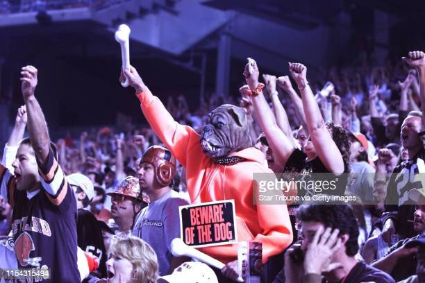 """-- Cleveland Ohio, 8/21/99.....Henry Hill of Cleveland a Browns fan, and a member of the """"Dog Pound"""" cheers for his team aganist the Minnesota..."""
