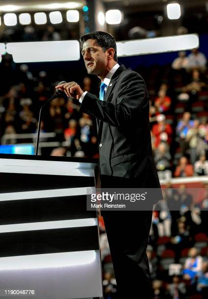 Cleveland, Ohio, July 19, 2016. Speaker of the House Paul Ryan addresses the Republican National Nominating Convention at the Quicken Arena in...