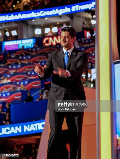 Cleveland Ohio July 19 2016 Speaker of the House Paul Ryan addresses the Republican National Nominating Convention at the Quicken Arena in Cleveland...