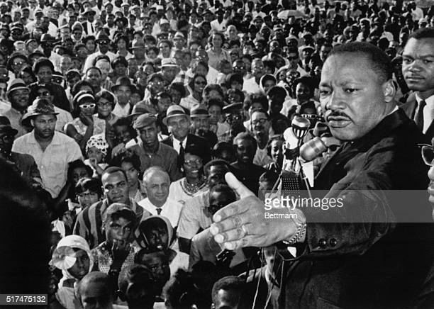 Reverend Martin Luther King addressed a cheering crowd of 2000 who heard from King that 98% of the Negroes in Cleveland live in ghettos King held his...
