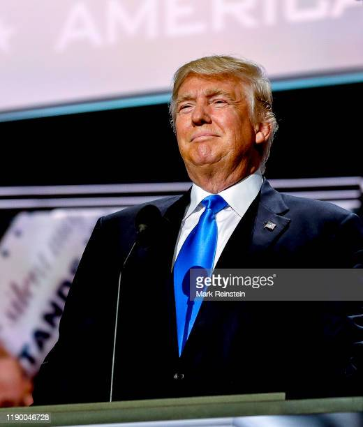 Cleveland, Ohio, USA, July 18, 2016 Republican Presidential nominee Donald J. Trump comes on stage to introduce his wife Melania during the first day...