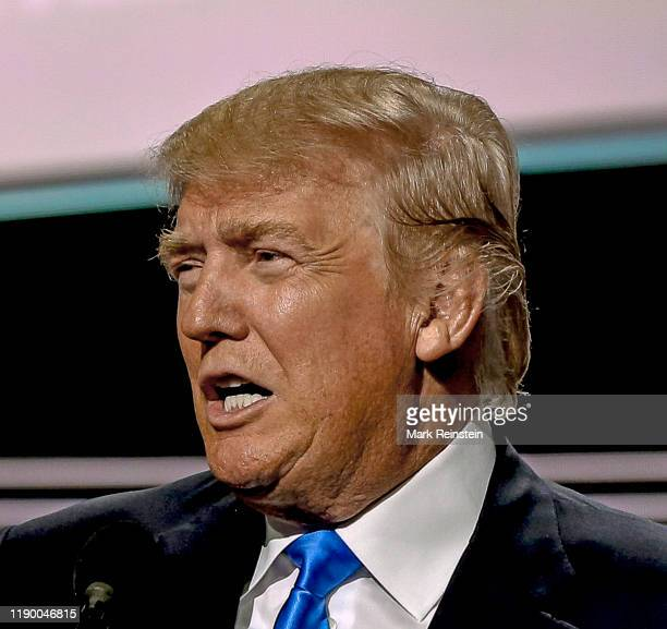 Cleveland Ohio USA July 18 2016 Republican Presidential nominee Donald J Trump comes on stage to introduce his wife Melania during the first day of...