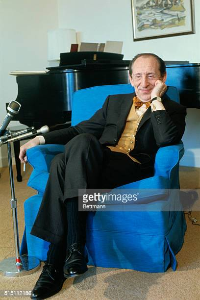 Cleveland, Ohio: World renowned pianist Vladimir Horowitz talks with reporters after it was announced he will play at Severance Hall, , 5/12, coming...