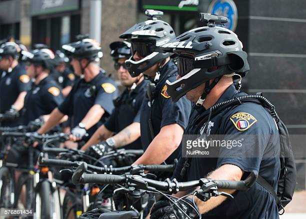 Cleveland police officers block an intersection during a demonstration near the site of the Republican National Convention on July 17, 2016 in...