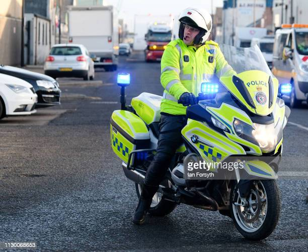 Cleveland police outriders escort parts of a Tunnel Boring Machine as they are moved by road convoy to the Sirius Minerals site at Wilton on Teesside...