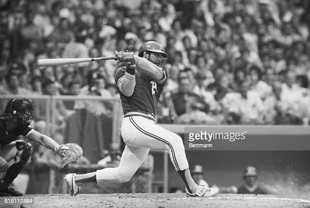 Reggie Jackson Oakland's star outfielder is all twisted after fouling a Gaylord Perry pitch in 5th inning action Jackson who received an alltime high...
