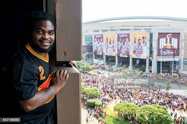 Cleveland resident Shawn Copeland arrived at a parking garage located at the corner of Huron Rd and Ontario at 700AM to watch the Cleveland Cavaliers...