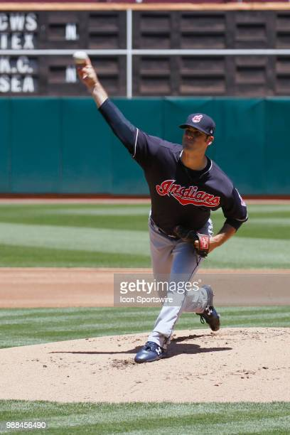 Cleveland RHP Adam Plutko starts for the Indians in the MLB game on June 30 2018 between the Indians and A's at OaklandAlameda County Stadium in...