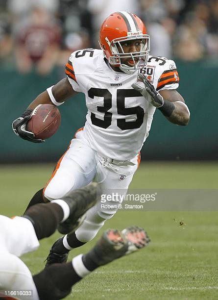 Cleveland runningback Jerome Harrison in second half action as the Cleveland Browns defeated the Oakland Raiders by a score of 24 to 21 at McAfee...