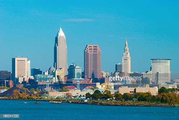 cleveland skyline and lake erie - cleveland ohio stock photos and pictures