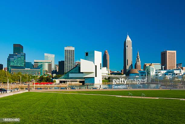 cleveland skyline and park - cleveland ohio stock photos and pictures
