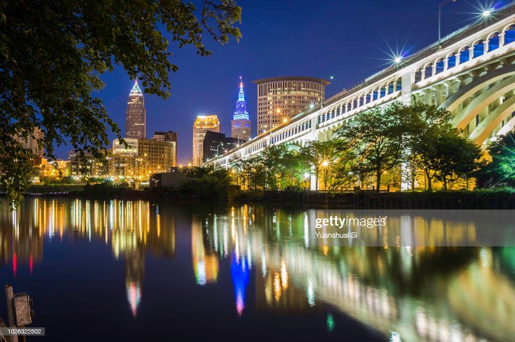 Cleveland Skyline at night : Stock Photo