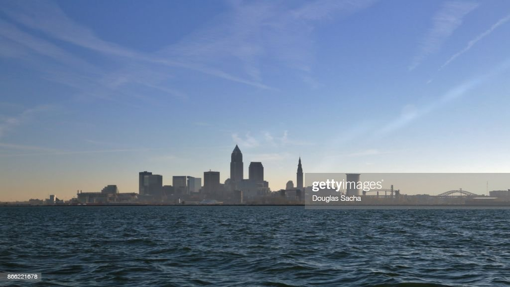 Cleveland skyline from Lake Erie : Stock Photo
