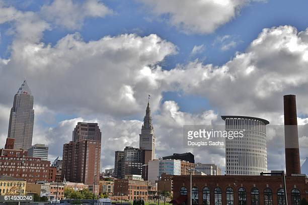 cleveland skyline from the warehouse district - cleveland ohio stock photos and pictures