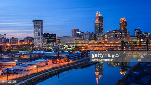 cleveland skyline view at blue hour from the hope memorial bridge - cleveland ohio stock photos and pictures