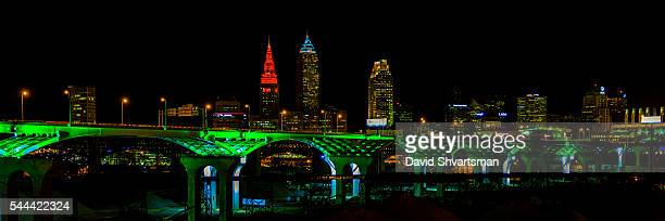 cleveland skyline view at night from tremont village with new interstate 90. - rock and roll hall of fame cleveland stock pictures, royalty-free photos & images