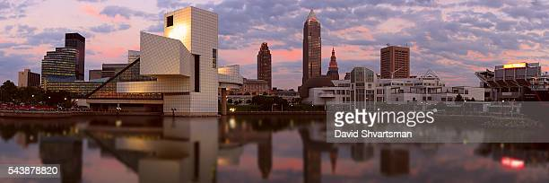 cleveland skyline view from the lake - cleveland ohio stock photos and pictures
