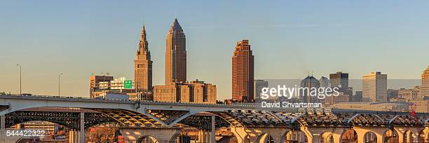 cleveland skyline view from tremont village. - rock and roll hall of fame cleveland stock pictures, royalty-free photos & images
