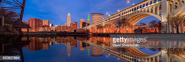 Cleveland Skyline View with Veterans Memorial Bridge at Night