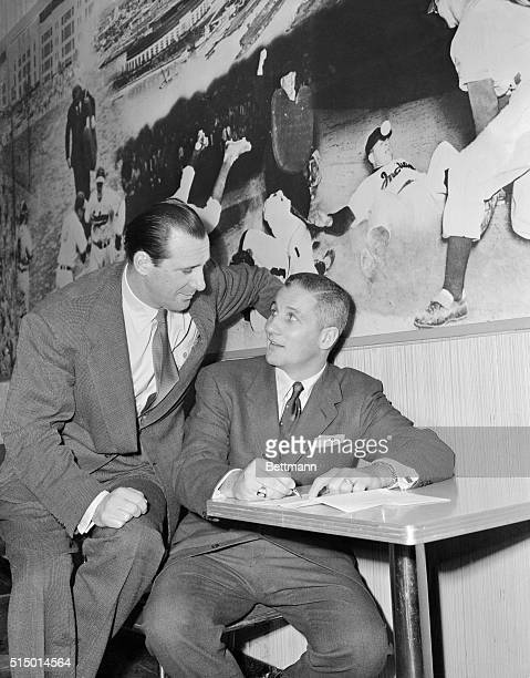 Cleveland slugger Al Rosen signed his 1955 contract with the Indians for a figure reportedly the same as the year beforein the neighborhood of $40000...