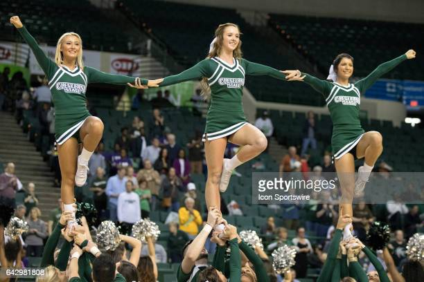 Cleveland State Vikings cheerleader perform prior to the men's college basketball game between the Wright State Raiders and Cleveland State Vikings...