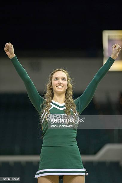 Cleveland State Vikings cheerleaders perform during the NCAA Women's Basketball game between the UIC Flames and Cleveland State Vikings on January 14...