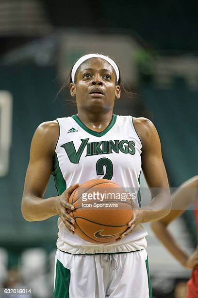 Cleveland State Vikings F Ashanti Abshaw at the foul line during the second quarter of the NCAA Women's Basketball game between the UIC Flames and...