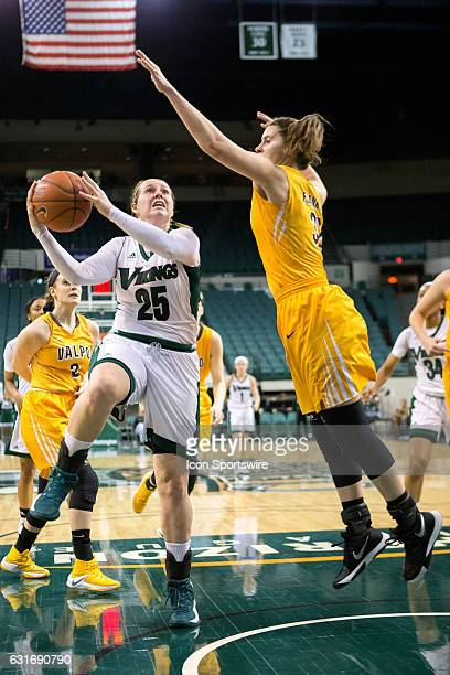 Cleveland State Vikings F Olivia Voskuhl drives to the basket as shoots as Valparaiso Crusaders F Dani Franklin defends during the second quarter of...