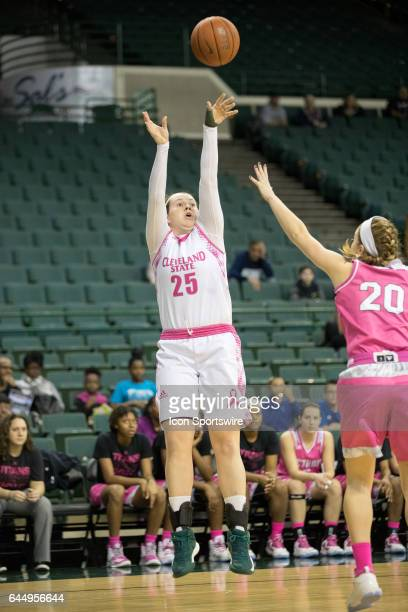 Cleveland State Vikings F Olivia Voskuhl shoots over Detroit Titans G Nicole Urbanick during the first quarter of the women's college basketball game...