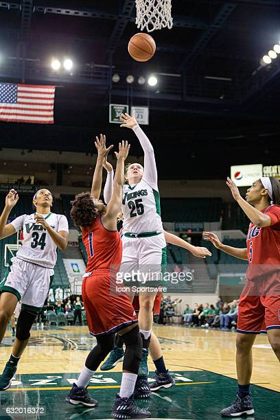 Cleveland State Vikings F Olivia Voskuhl shoots over UIC Flames G Melita EmanuelCarr during the second quarter of the NCAA Women's Basketball game...