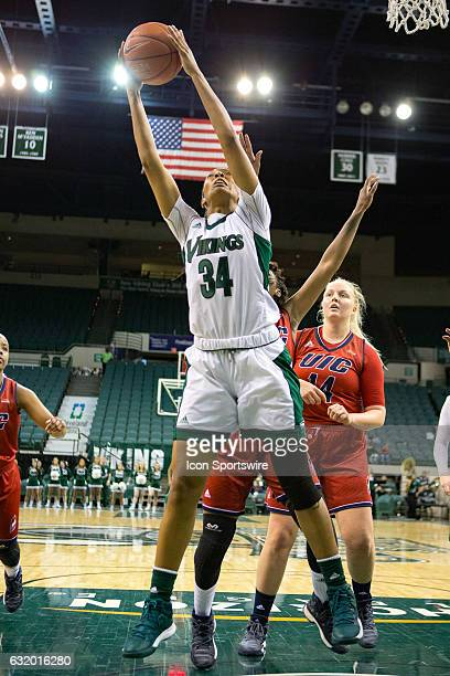 Cleveland State Vikings F Shadae Bosley grabs a rebound during the second quarter of the NCAA Women's Basketball game between the UIC Flames and...