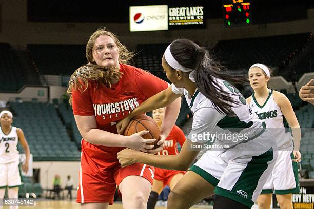 Cleveland State Vikings F Shadae Bosley ties up Youngstown State Penguins F Mary Dunn for a jump ball during the fourth quarter of the NCAA Women's...