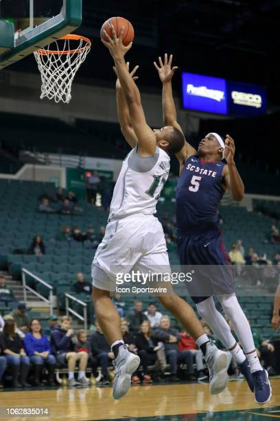 Cleveland State Vikings forward Algevon Eichelberger drives to the basket as South Carolina State Bulldogs forward Ozante Fields defends during the...