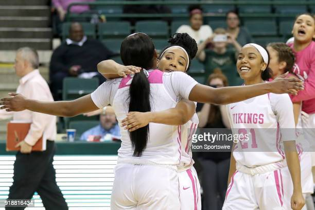 Cleveland State Vikings forward Ashanti Abshaw and Cleveland State Vikings guard Khayla Livingston embrace after each scored 21 points following the...