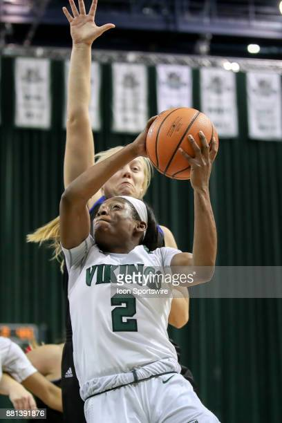 Cleveland State Vikings forward Ashanti Abshaw drives to the basket as Eastern Illinois Panthers forward Jennifer Nehls defends during the third...