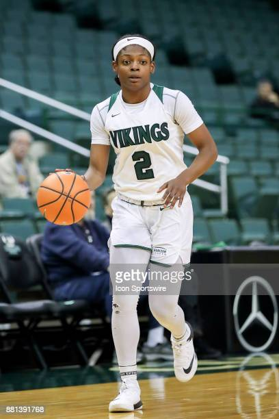 Cleveland State Vikings forward Ashanti Abshaw with the basketball during the third quarter of the women's college basketball game between the...