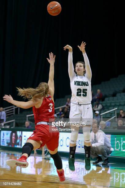 Cleveland State Vikings forward Isabelle Gradwell shoots a 3-point shot against Bradley Braves guard Gabi Haack during the third quarter of the...