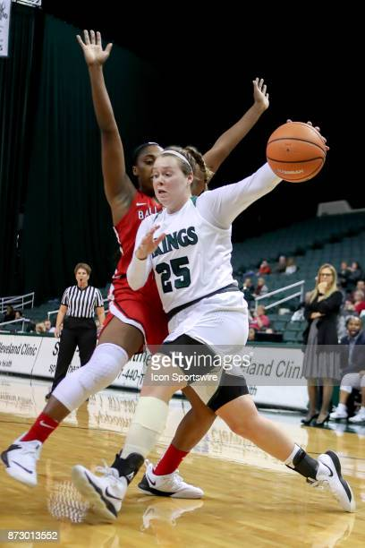 Cleveland State Vikings forward Olivia Voskuhl drives to the basket as Ball State Cardinals forward Aliyah Walker defends during the third quarter of...